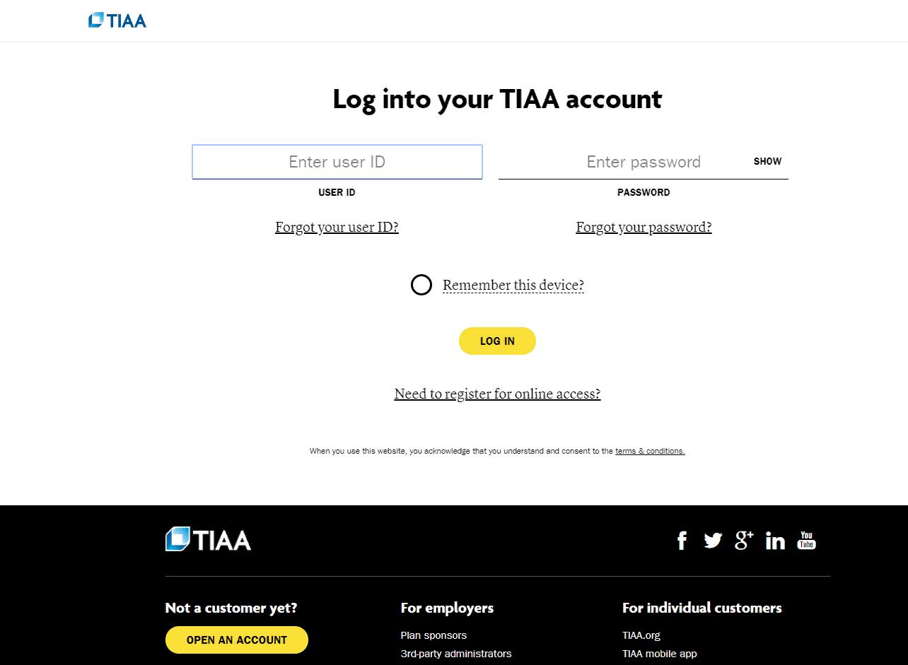 TIAA-CREF Secure Account Login