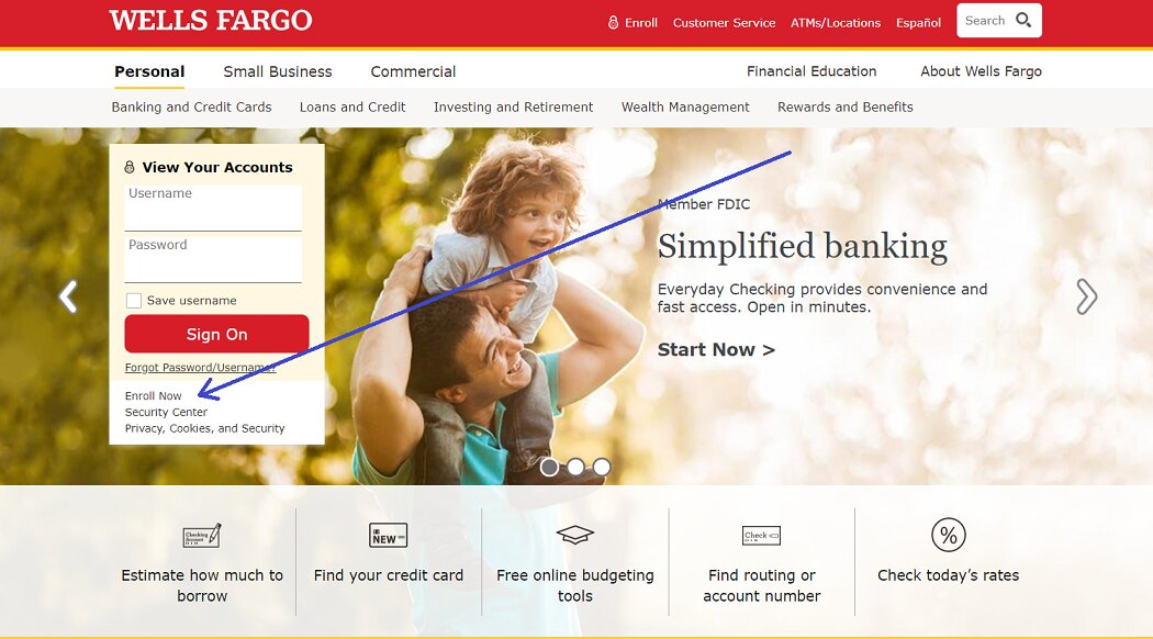 wells fargo enter enroll